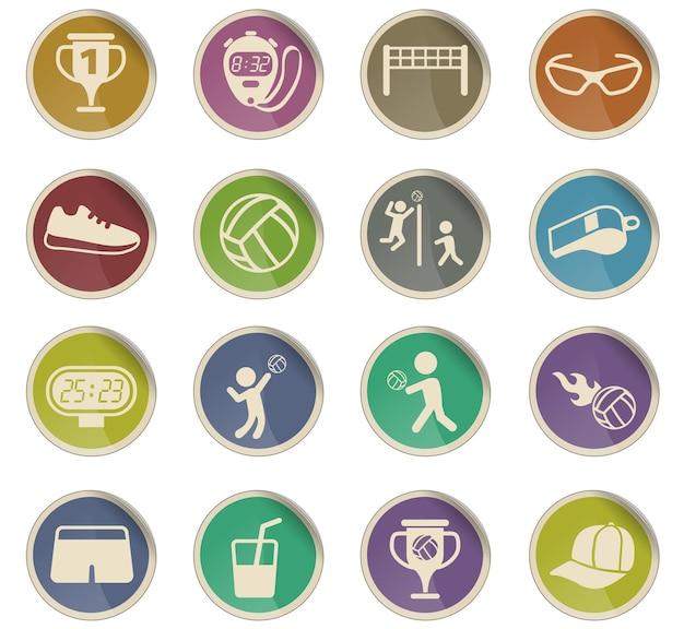 Ícones do vetor de voleibol na forma de etiquetas redondas de papel