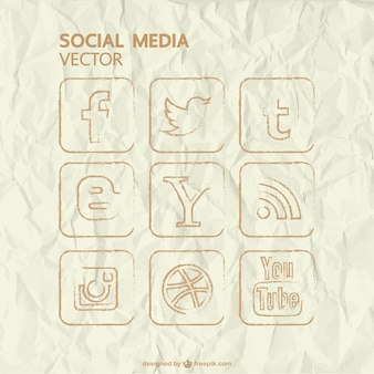 Ícones do vetor desenhado mão de mídia social