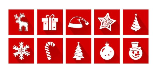 Ícones do vetor dos desenhos animados de natal conjunto de decoração do feriado de ano novo ilustração