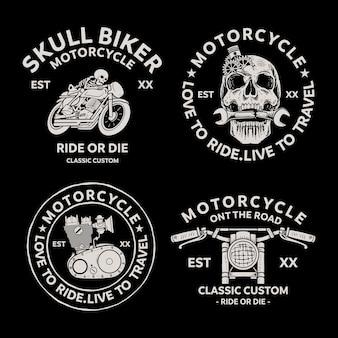 Ícones do vetor dos emblemas dos emblemas dos motociclistas. clássico, logotipo.