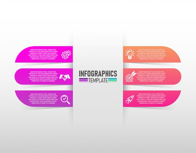 Ícones do vetor e do mercado do projeto de infographics com vetor de 6 etapas.