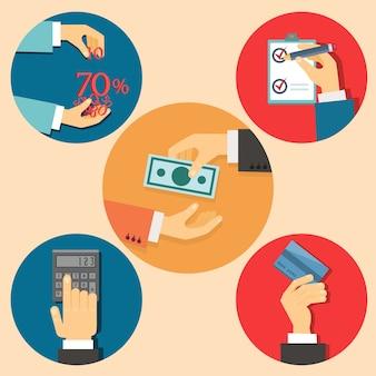 Ícones do vetor na ilustração de finanças e negócios estilo retro plano
