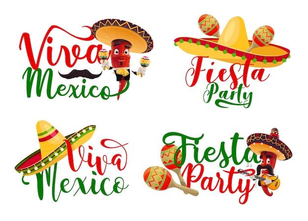 Ícones do viva méxico com personagens mexicanos de festa de fiesta chili mariachi.