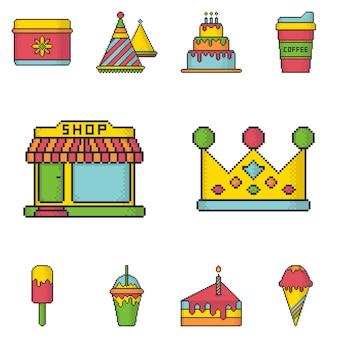 Ícones doces do vetor do estilo da arte do pixel do partido da loja ajustados.
