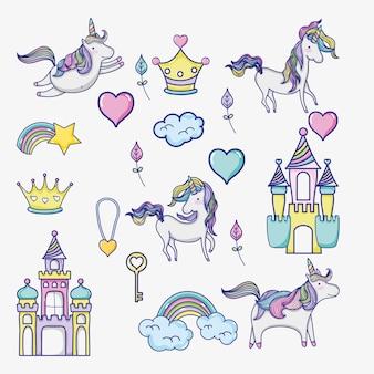 Ícones doodle do mundo de fantasia e magia
