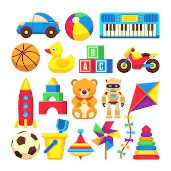 Ícones dos brinquedos das crianças dos desenhos animados isolados no branco. caricatura, bebê, brinquedos, bola, e, urso, ilustração