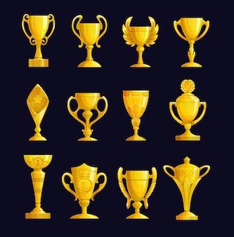 Ícones dos desenhos animados da taça de campeão. taças de ouro com asas, estrela e coroa, taças de campeão e troféus