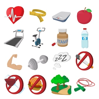 Ícones dos desenhos animados de estilo de vida saudável. fitness conjunto isolado vector