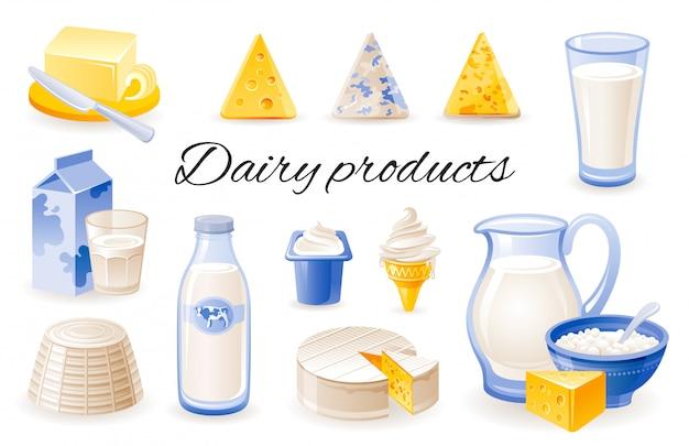 Ícones dos desenhos animados de leite. conjunto de produtos lácteos com queijo cheddar, brie, ricota, iogurte, manteiga, jar.
