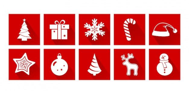 Ícones dos desenhos animados de natal. ano novo. conjunto de decoração de férias, cores vermelhas e brancas. ilustração vetorial