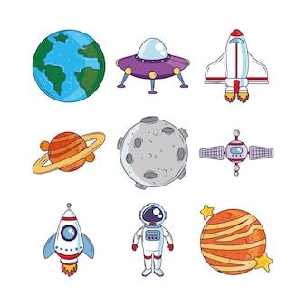 Ícones dos desenhos animados do cosmos da galáxia espacial