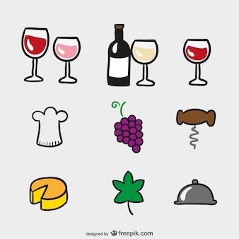 Ícones dos desenhos animados do vinho