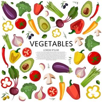 Ícones dos vegetais ajustados no estilo dos desenhos animados em um fundo branco.