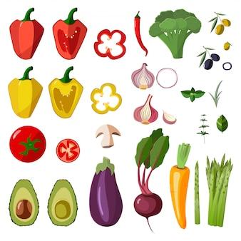 Ícones dos vegetais do vetor ajustados no estilo dos desenhos animados.