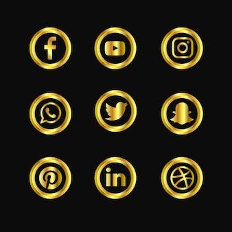 Ícones dourados de mídia social