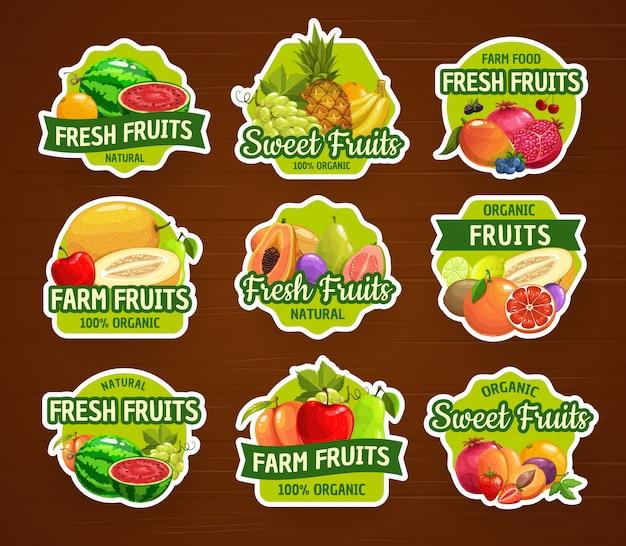 Ícones e adesivos de frutas, fazenda de alimentos tropicais