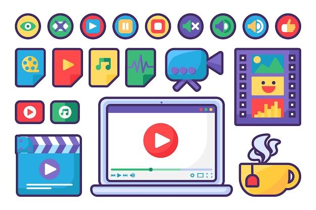 Ícones e botões do media player definir design plano