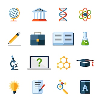 Ícones e elementos de ciência e educação