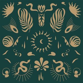 Ícones e emblemas lineares de desenho vetorial - estilo boho mistério. padrão seamlee.