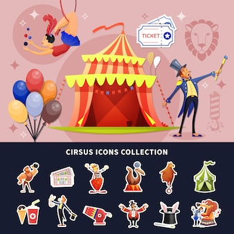 Ícones e ilustração de circo
