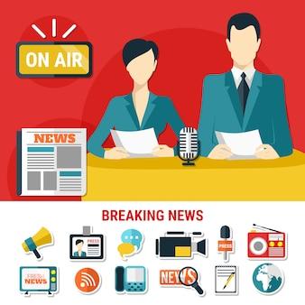 Ícones e ilustração de notícias de última hora