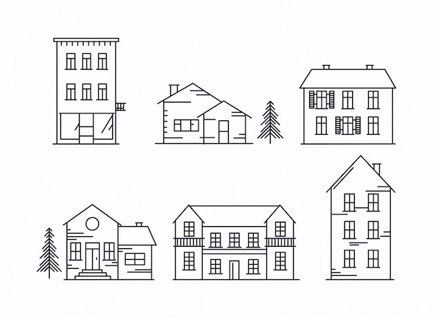 Ícones e ilustrações com edifícios, casas e árvores.