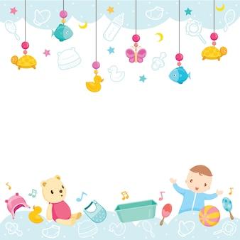 Ícones e objetos de bebê, fundo, equipamentos e brinquedos para crianças