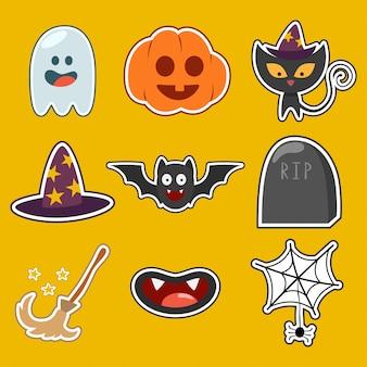 Ícones e personagens fofinhos de halloween conjunto isolados.