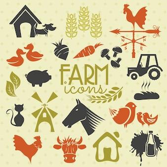 Ícones e rótulos agrícolas