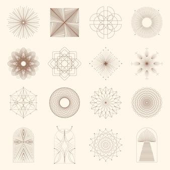 Ícones e símbolos boho lineares modelos de design de logotipo de sol elementos de design abstrato para decoração