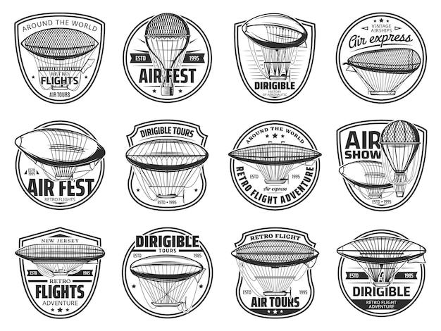 Ícones e símbolos de tours de voo de dirigíveis e balões de ar quente