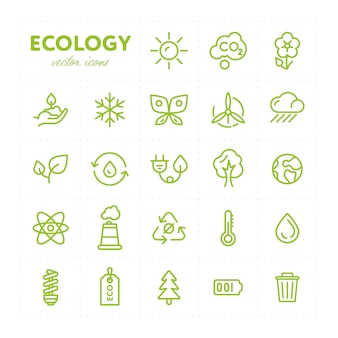 Ícones ecológicos coloridos em conjunto