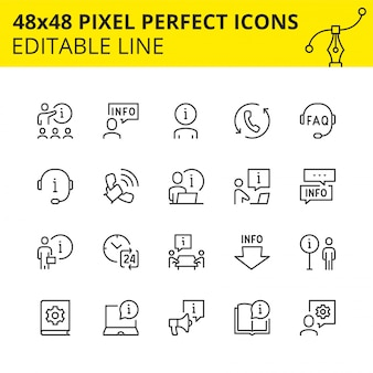Ícones editáveis de ajuda e suporte.