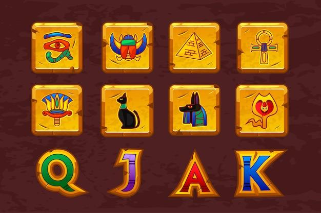 Ícones egípcios para jogo de slots de máquinas de cassino