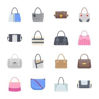 Ícones elegantes de bolsas planas