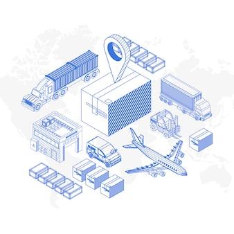 Ícones elementares para o conceito de entrega