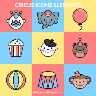 Ícones elemnt circo coloridos