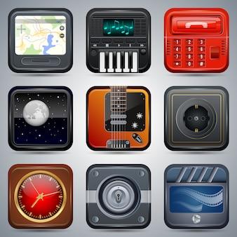 Ícones eletrônicos quadrados, conjunto de elementos de interface