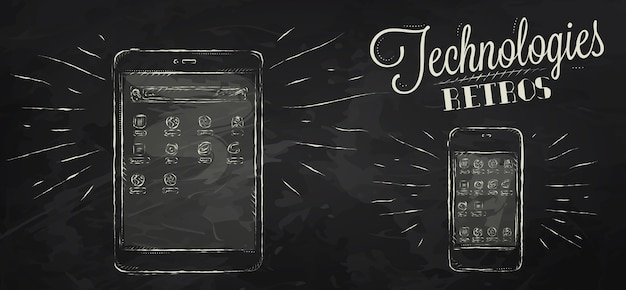 Ícones em dispositivo móvel de tecnologia moderna em estilo vintage desenho estilizado com giz no fundo do quadro-negro
