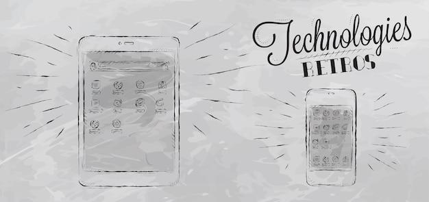 Ícones em dispositivos móveis de tecnologia moderna em estilo vintage estilizados sob os desenhos de giz em cinza