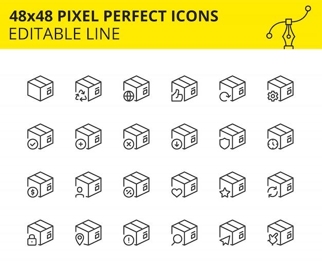 Ícones em escala de caixas de pacote e entrega.