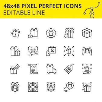 Ícones em escala de caixas de presente e surpresas