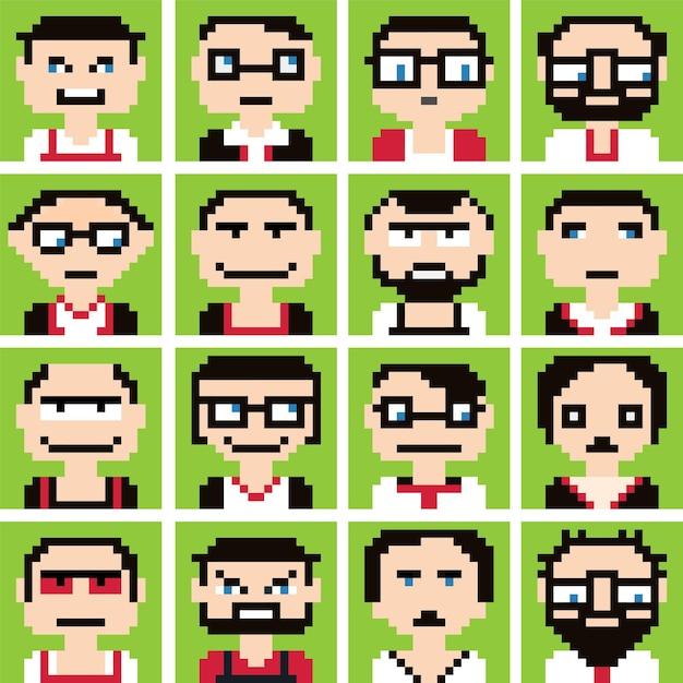 Ícones em gráficos de pixel de estilo de rostos masculinos e femininos.