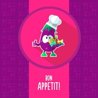 Ícones em uma cozinha de tema com berinjela de chef engraçado