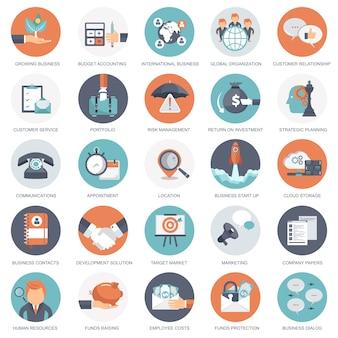 Ícones empresariais, de gestão e financeiros