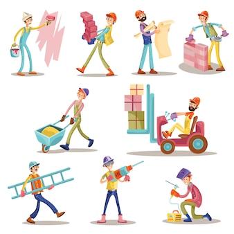 Ícones engraçados dos homens dos desenhos animados dos trabalhadores da construção ajustados.