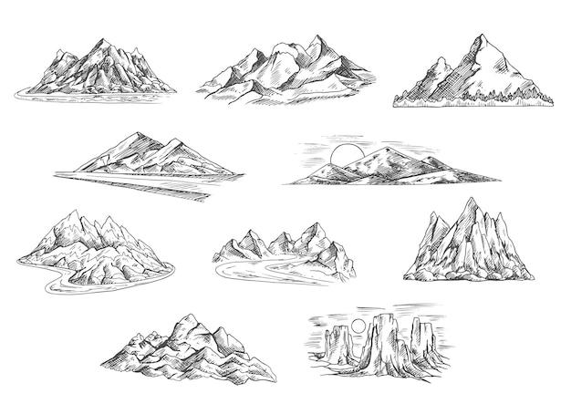 Ícones esboçados de paisagens montanhosas para turismo de caminhada