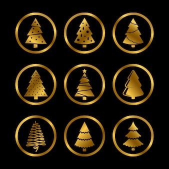 Ícones estilizados de árvores de natal douradas e brilhantes em preto