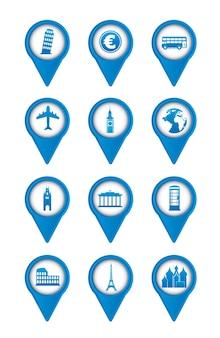 Ícones europa azul sobre ilustração vetorial de fundo branco