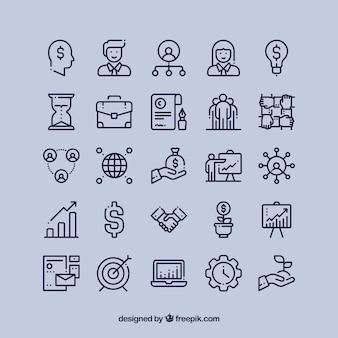 Ícones financeiros do negócio ajustados